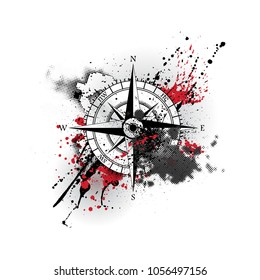 Black wind rose silhouette with different grunge blots and splashes black and red colors. With halftones and blood blobs isolated on white background