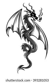 Black winged tribal dragon tattoo vector illustration