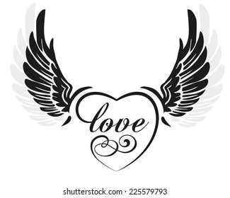 Black wings with heart and sign love, illustration isolated on white
