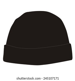 Black winter hat vector isolated, snowboarding hat