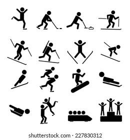 Black Winter Sports / Games Icons set