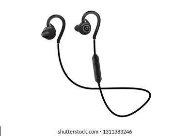 Black Wireless Sport Earphones.