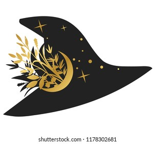 Black witch hat on white background. Vector illustration