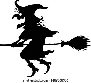 The black witch riding a broom, vector