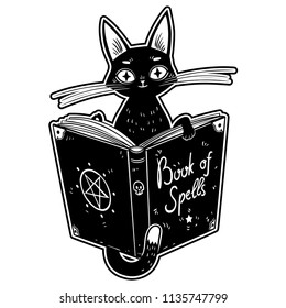 Black Witch's Cat reading the Book of Dark Magic. Hammer of the witches. Malleus Maleficarum. Book of spells. Vector illustration.