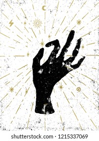 Black witch's hand with light rays and symbols of the elements of the cosmos. Vector illustration on white textured background. Tattoo, sticker, patch or poster print design.