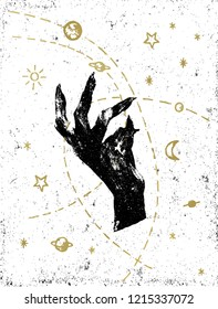 Black witch's hand with symbolic cosmos illustration on white textured background. Tattoo, sticker, patch or poster print design.