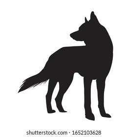 black wolf silhouette flat design