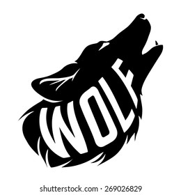Black Wolf Silhouette of wolf howls with text inside him isolated on white background.