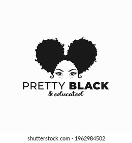Black woman with afro ponytail hairstyle. Afro woman pretty black and educated logo on white background