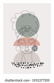 Black woman afro portrait with geometric shapes, grunge doodle texture background. Female profile continuous line art. Vector abstract beauty concept Illustration for fashion, contemporary wall design