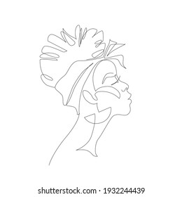 Black woman afro portrait isolated on white background. Female profile continuous line art. Black beauty concept. Vector abstract person Illustration for avatars, fashion, beauty design