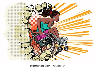 Black woman athlete in a wheelchair punches the wall. African American person in sports. Barrier-free environment for disabled. pop art retro vector illustration