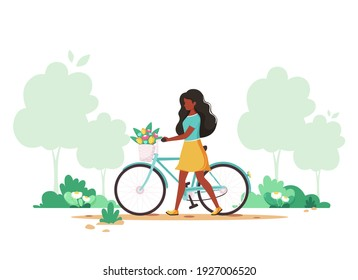 Black woman with a bike with flowers in the basket. Springtime. Vector illustration.