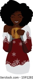 A black woman in a Christmas sweater drinks a hot beverage from a gold mug.