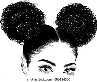 black woman with curls. Print for T-shirt,  graphic tee,  idea for visit cards