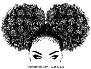 black woman with curly hair