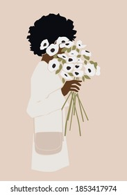 Black woman with curly hair and white flowers in a hand on the pink isolated background. Abstract vector illustration.