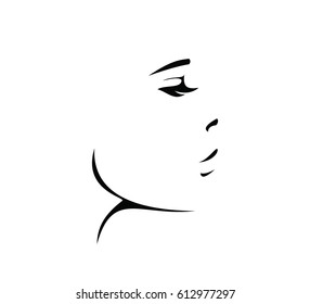 Black woman face icon vector, logo, sign, silhouette