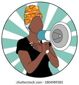 A black woman holding a megaphone for protesting for their rights Black live matters. Social poster. Democracy. Vector illustration.