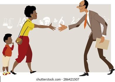 Black woman with a little boy meeting a teacher, vector cartoon, no transparencies, EPS 8