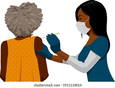 A Black woman nurse wearing gloves and a face mask administers a vaccine to an elderly Black woman patient.