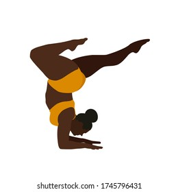 Black woman with orange gym outfit and black hair in a bun in head stand with bent legs yoga pose