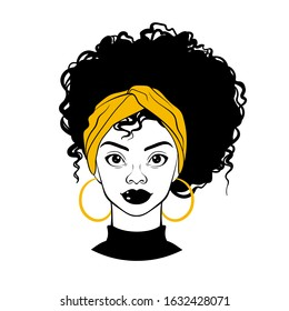 Black woman portrait. Afro American girl. Curly hair, golden earrings and turban. Fashion Illustration on white background