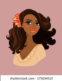 Black woman portrait with red flower in her hair isolated vector illustration