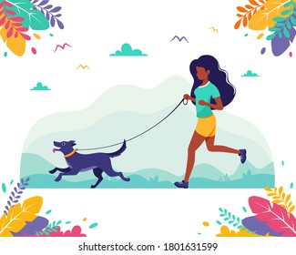 Black woman running with dog in the nature. Outdoor activities, healthy lifestyle, summertime, jogging concept. Vector illustration in flat style.