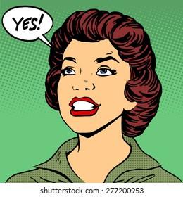 Black woman says Yes pop art comics retro style Halftone. Imitation of old illustrations
