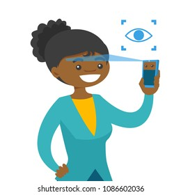 Black woman scanning eyes with smartphone. Smartphope eye scanning identity technology. Digital identity concept. Vector cartoon illustration isolated on white background.