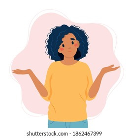 Black woman shrugging with a curious expression, doubt or question, vector illustration in flat style