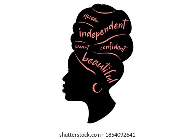 Black woman Silhouette. African American girl  in a head wrap and with an earring.  Beautiful girl profile. Decorated with hand written text.  Vector clipart isolated on white.