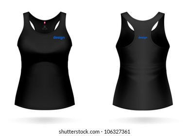Black WOMAN SINGLET. VECTOR illustration, painted with love to details. More clothing designs in my portfolio!
