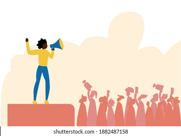 A black woman speaking about social justice and standing up against discrimination in front of crowd , this illustration showcase about woman empowerment