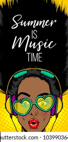 Black woman in sunglasses earphones. Wow face pop art style beautiful. Shocked face vintage girl. Disco music banner. Vintage poster WOW SALE kitsch advertise. Summer party love music phrase.