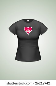 Black woman T-shirt with sample design. Vector (gradient meshes used), lot of details!