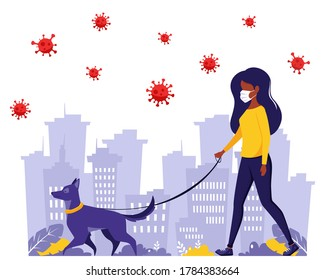 Black woman walking with dog during pandemic. Black woman in face mask. Pandemic, quarantine rules. Outdoor activities. Vector illustration in flat style.