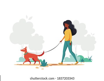Black woman walking with dog in the park. Outdoor activity concept. Vector illustration.