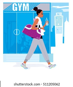 A black woman wearing sport outfit, drinking a bottle of water and carrying a big sport bag going to gym. Vector illustration.
