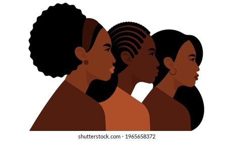 Black women. Three bright women are looking in one direction. Different hairstyles, skin tones - afro, curly, long hair. Beautiful strong people, sisters. Concept of feminism, equality, rights.