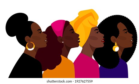 Black women together: beauty different hairstyles, clothes, accessories. African-American, Brazilian, European women celebrate International Women's Day. Movement for equality, freedom, justice.
