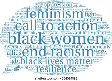 Black Women word cloud on a white background.