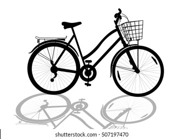black women's bicycle with basket silhouette, isolated vector