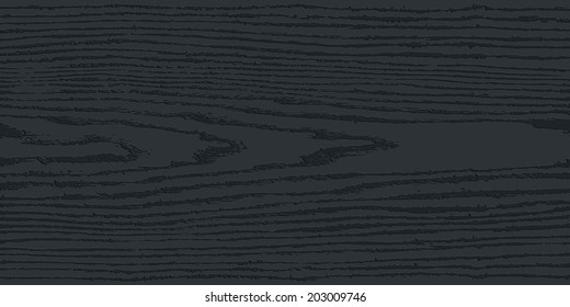 Black wood texture background. Blank realistic plank with annual years circles. Empty natural pattern swatch template. Backdrop size rectangular format. Vector illustration design elements in 8 eps
