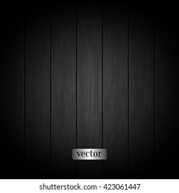 Black wood texture. Natural dark wooden background. Ebony, coal black wood. Top view. Vector planks texture.