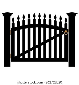 Black wooden fence and closed garden gate with golden handle vector isolated