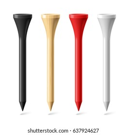 Black, Wooden, Red and White Golf Tees