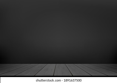Black wooden table or floor against a dark wall background. Empty studio for advertising. Vector illustration.